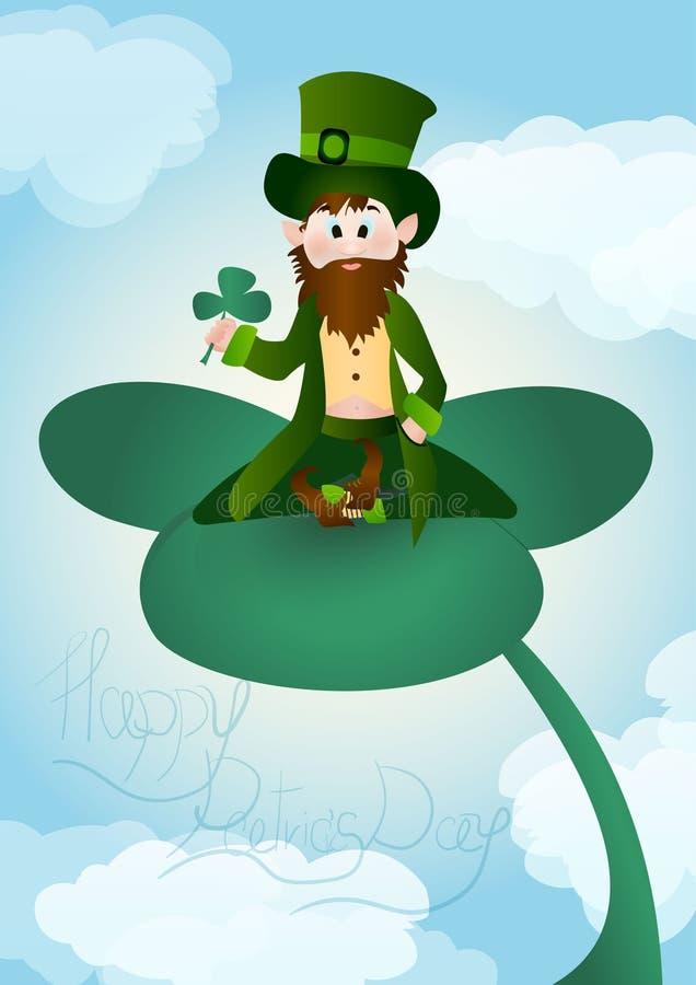 Illustration du jour de bande dessinée de St Patrick mignon de lutin illustration stock
