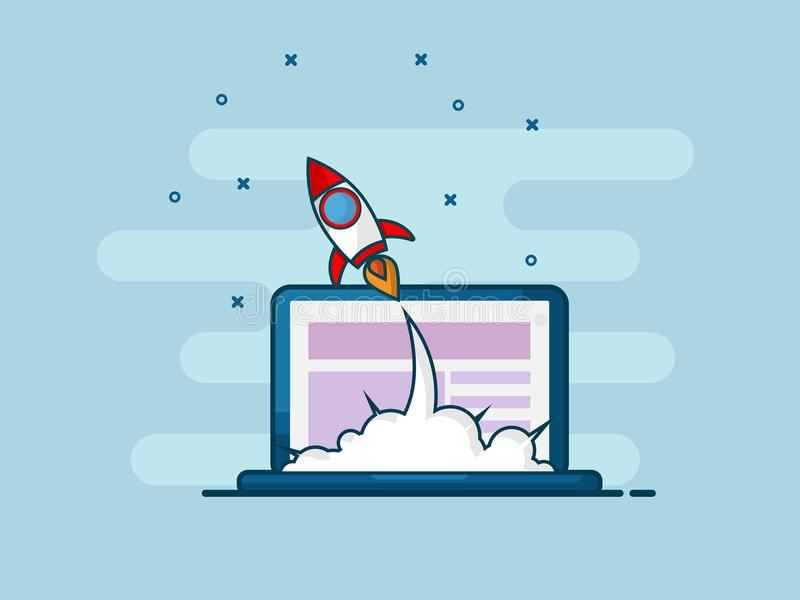 Illustration du lancement de démarrage de fusée de la ligne plate desi d'ordinateur portable illustration de vecteur