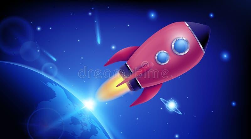 illustration du lancement réaliste d'un vaisseau spatial de fusée 3D isolé en arrière-plan Exploration spatiale L'idée créative d illustration libre de droits