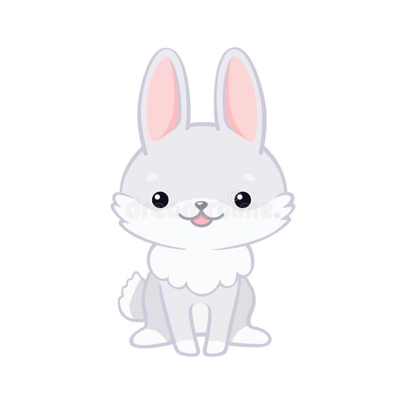 Illustration du lapin mignon de bande dessinée se reposant et souriant illustration libre de droits
