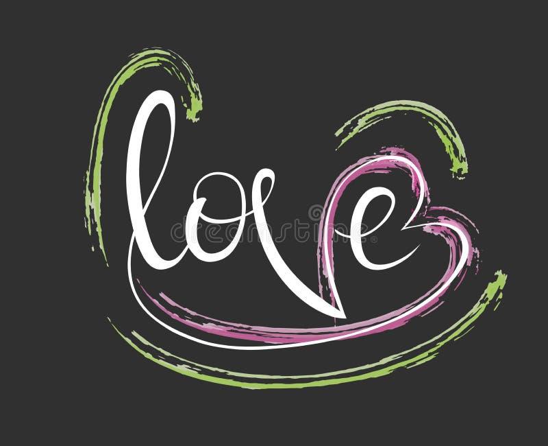 Illustration du lettrage avec un intérieur d'amour de mot, carte de voeux, T-shirts prinded illustration libre de droits