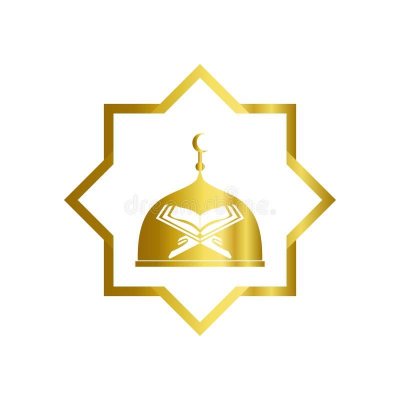 Illustration du modèle vectoriel de conception du logo de la mosquée Architecture islamique, communauté musulmane, salle de prièr illustration libre de droits