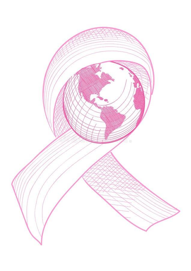 Illustration du monde de ruban de conscience de cancer du sein  illustration stock