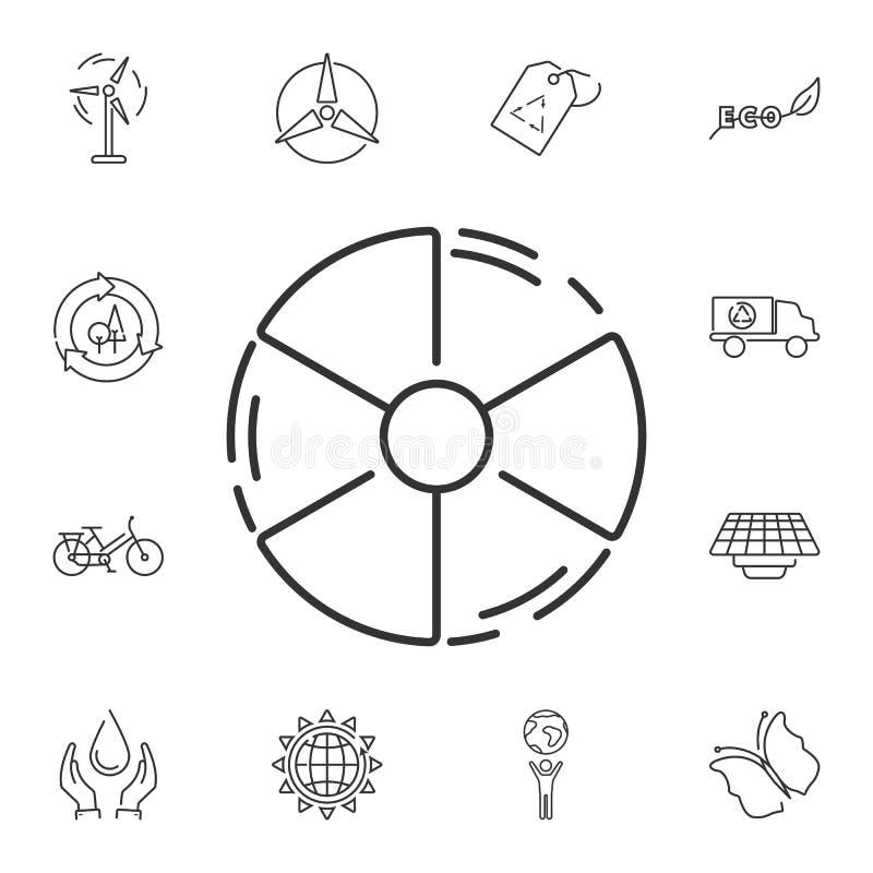 Illustration du rayonnement icon Illustration simple d'élément Conception de symbole de rayonnement d'ensemble de collection d'éc illustration libre de droits