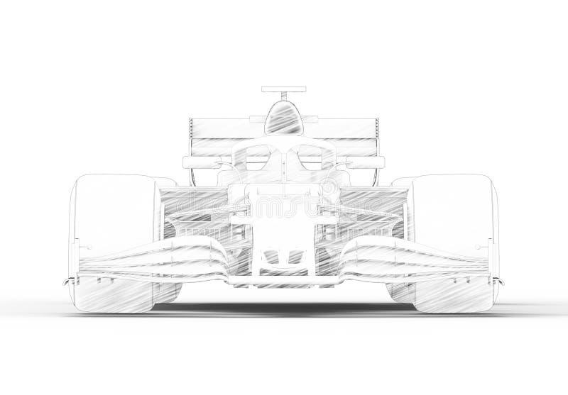 illustration du rendu 3D avec d'un moderne tout voiture de sport de course noire illustration libre de droits