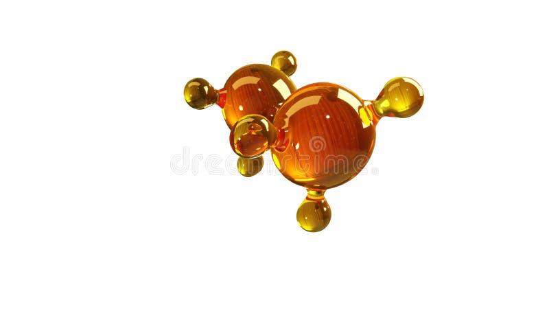 illustration du rendu 3d du modèle en verre de molécule Molécule d'huile Concept de pétrole ou de gaz de moteur de modèle de stru illustration libre de droits