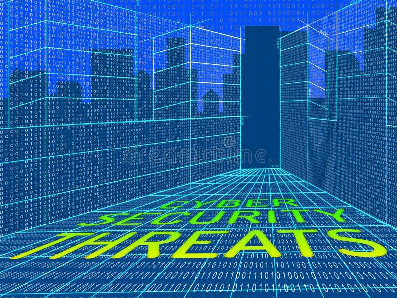 Illustration du risque 3d de crime de Cyber de menaces de Cybersecurity illustration de vecteur