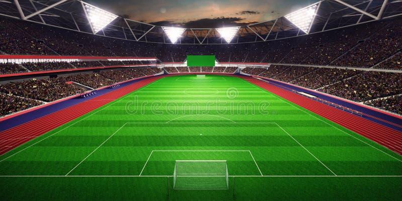 Illustration du terrain de football 3D d'arène de stade de soirée illustration libre de droits