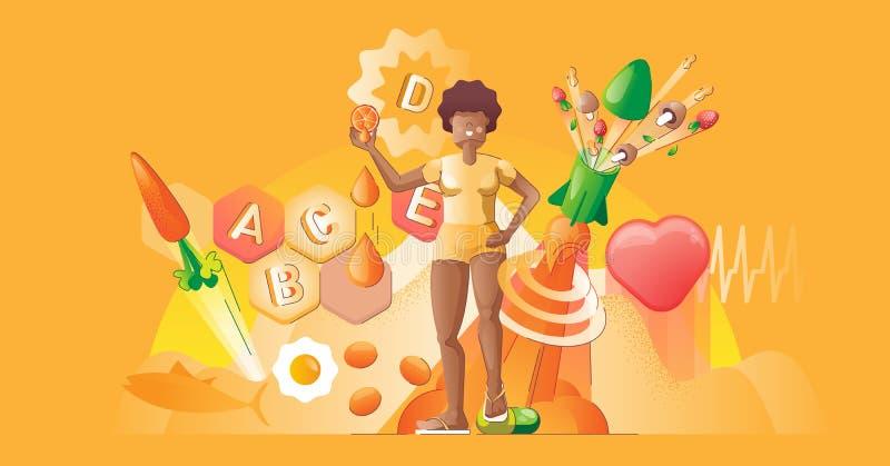 Illustration du vecteur de concept lisse des vitamines. Alimentation biologique saine illustration stock