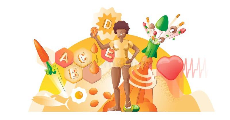 Illustration du vecteur de concept lisse des vitamines Alimentation biologique saine illustration libre de droits