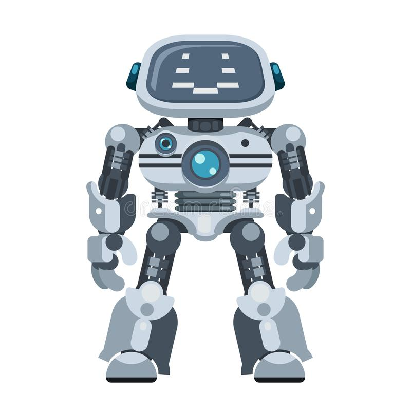 Illustration du vecteur de conception à plat de l'intelligence cybernétique artificielle et électronique des robots puissants illustration stock