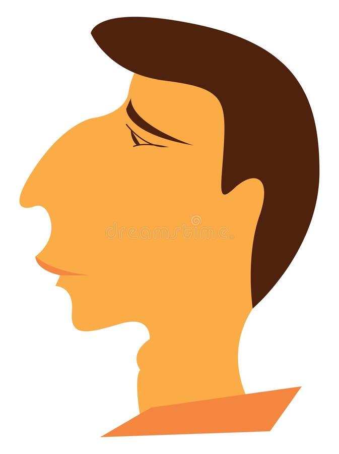 Illustration du vecteur de l'homme brun au visage triste illustration stock