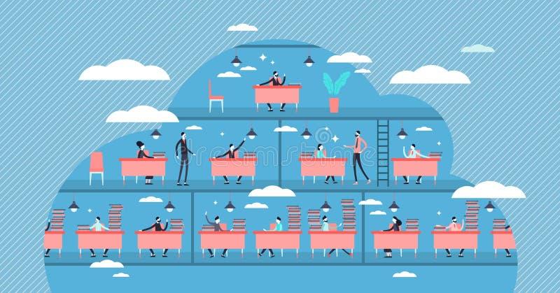 Illustration du vecteur de position de travail. Concept de personnes de la hiérarchie de travail minuscule et plate illustration de vecteur
