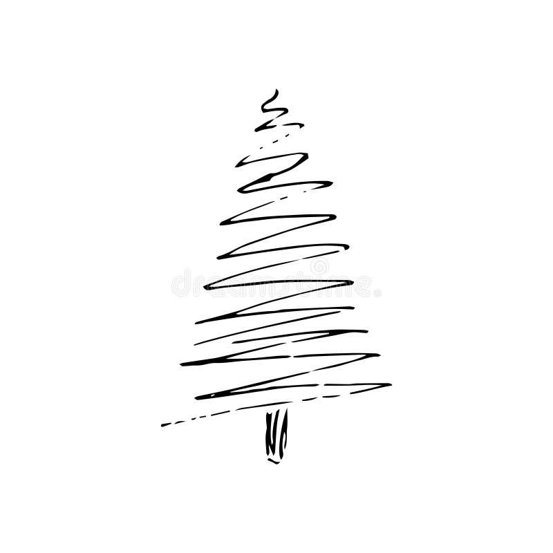 Illustration du vecteur de stock avec esquisse dessinée à la main Doodle cartoon line tree illustration libre de droits
