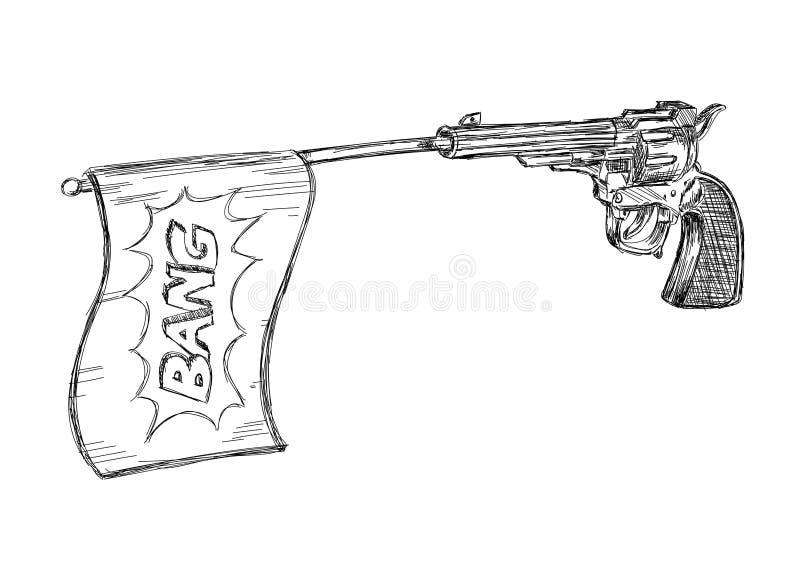 Illustration du vintage / vieux revolver avec un vecteur Bang Flag illustration stock