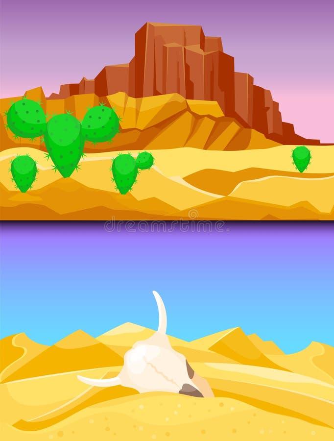 Illustration dunaire chaude de vecteur de voyage de paysage du soleil de dessous sec de fond de paysage de région sauvage de grès illustration de vecteur