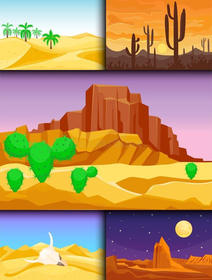 Illustration dunaire chaude de vecteur de voyage de paysage du soleil de dessous sec de fond de paysage de région sauvage de grès illustration libre de droits