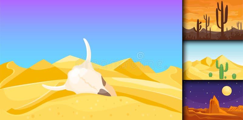 Illustration dunaire chaude de vecteur de voyage de paysage du soleil de dessous sec de fond de paysage de région sauvage de grès illustration stock