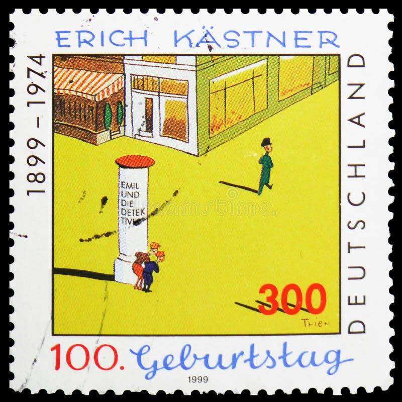 """Illustration durch Walter Trier-zu \ """"Emil und die Detektive \"""", Geburts-Jahrhundert von Erich Kastner-serie, circa 1999 stockbild"""