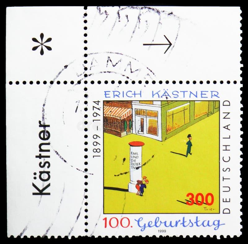 """Illustration durch Walter Trier-zu \ """"Emil und die Detektive \"""", Geburts-Jahrhundert von Erich Kastner-serie, circa 1999 stockfotografie"""