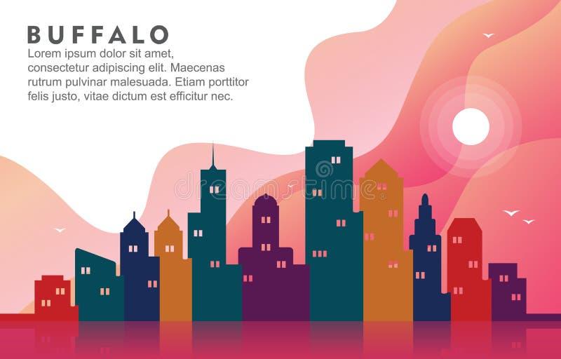 Illustration dynamique de construction de fond d'horizon de paysage urbain de New York City de Buffalo illustration stock