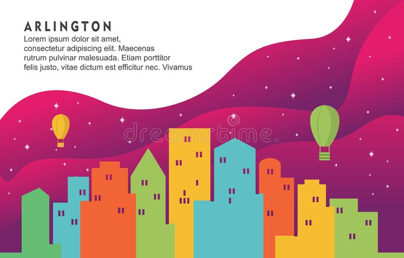 Illustration dynamique de fond d'Arlington Texas City Building Cityscape Skyline illustration de vecteur