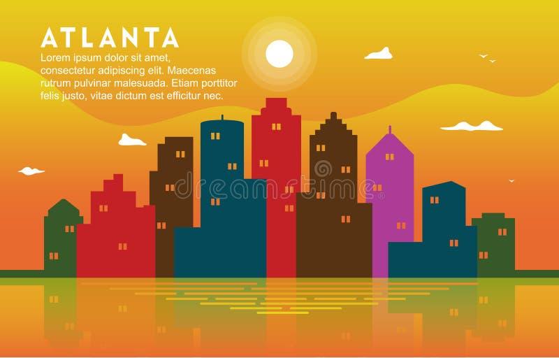 Illustration dynamique de fond d'Atlanta Georgia City Building Cityscape Skyline illustration libre de droits