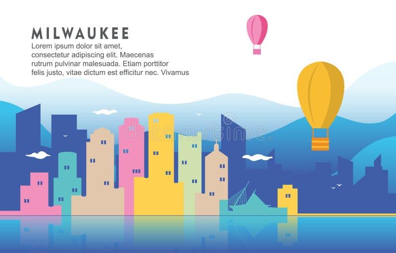 Illustration dynamique de fond d'horizon de paysage urbain de bâtiment de ville de Milwaukee le Wisconsin illustration stock