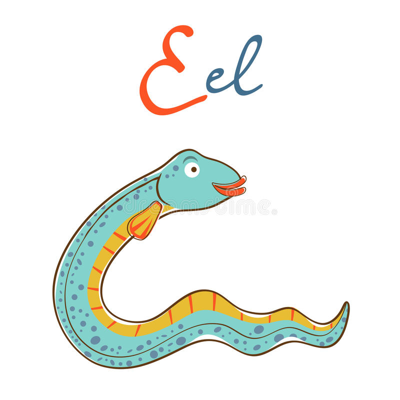 Illustration of E is for Eel. Vector format stock illustration