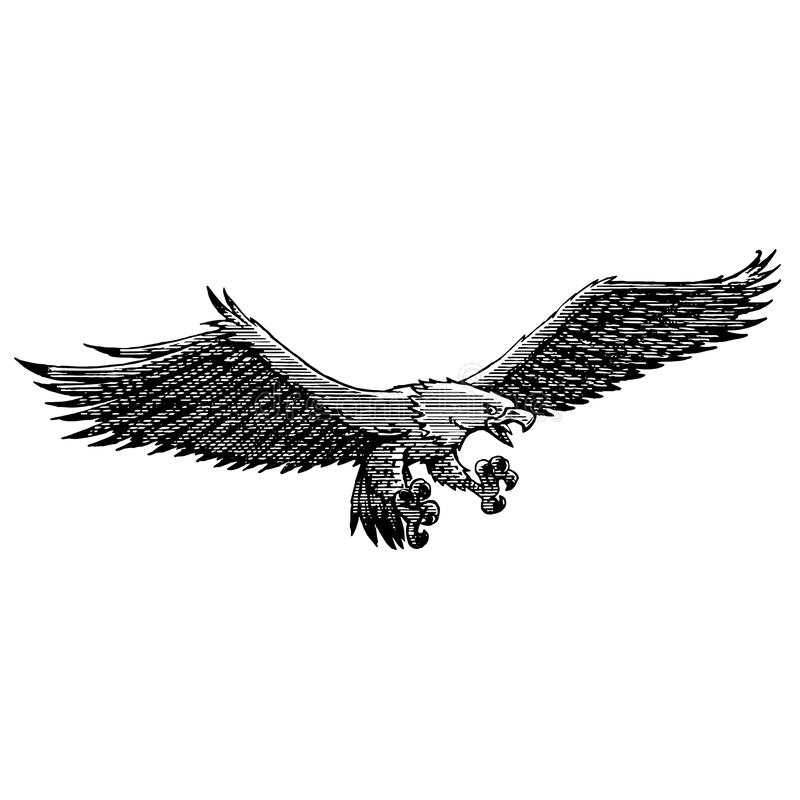 Old-fashioned eagle fisherman in fly vector illustration