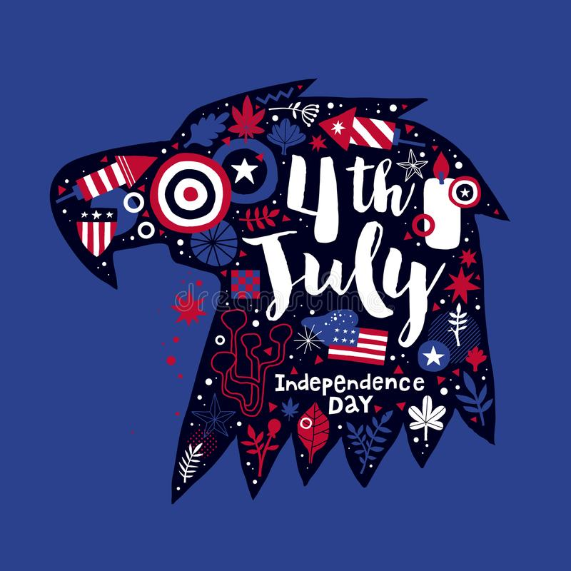 Illustration of eagle head with abstract floral and patriotic elements. 4 July Independence Day vector template royalty free illustration