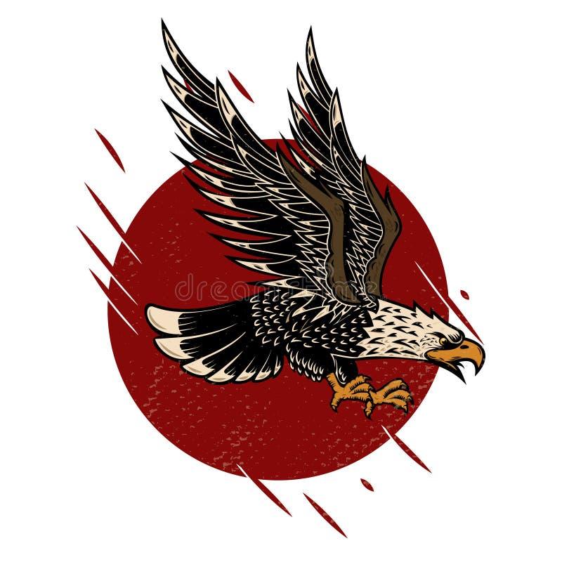 Illustration of eagle in old school tattoo style. Design element for poster, flyer, emblem, sign. stock illustration