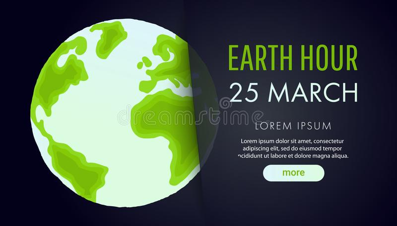 Illustration of Earth hour. 25 march. stock illustration