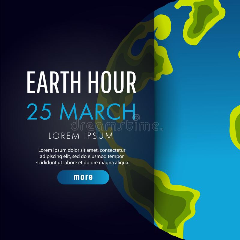 Illustration of Earth hour. 25 march. vector illustration