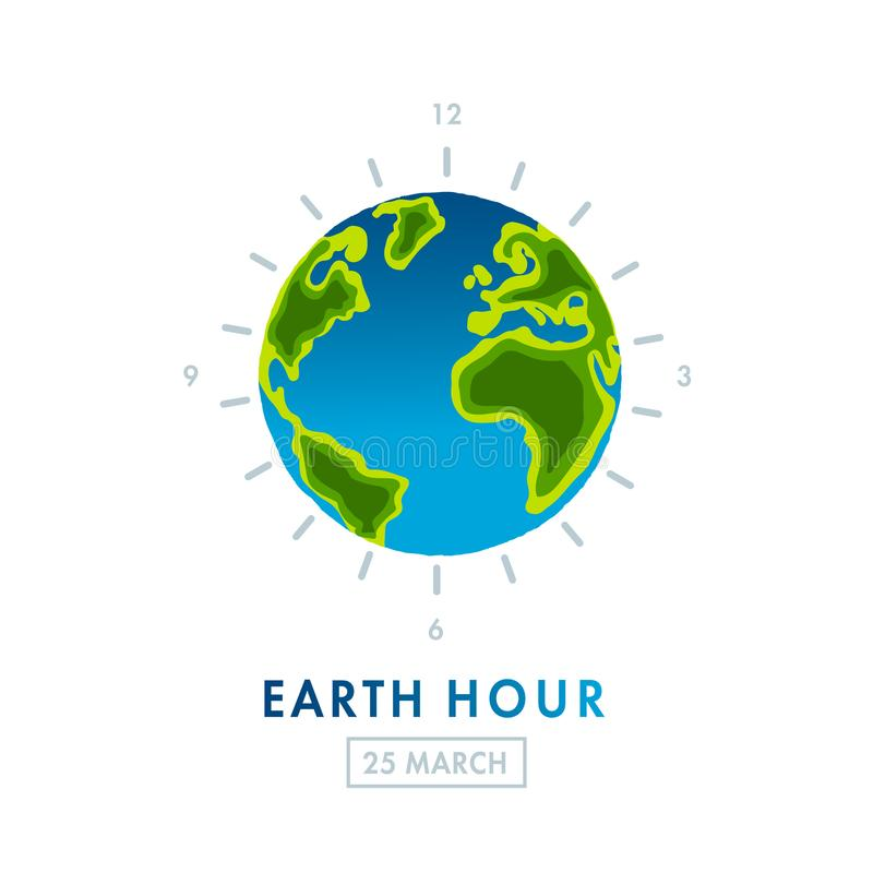 Illustration of Earth hour. 25 march vector illustration