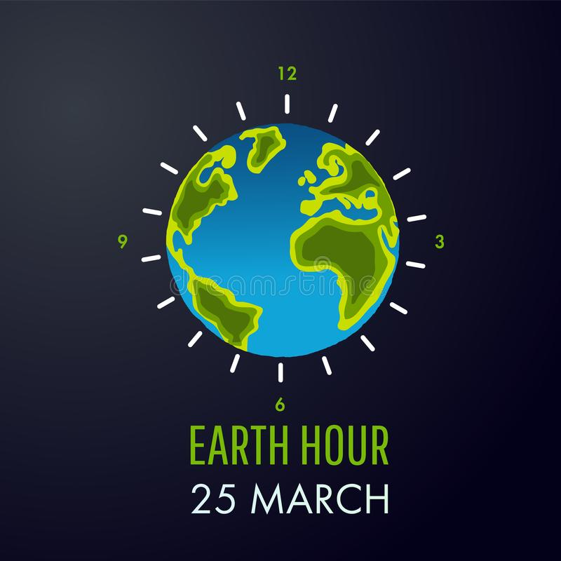 Illustration of Earth hour. 25 march. royalty free illustration