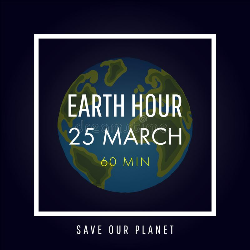 Illustration of Earth hour. 25 march royalty free illustration