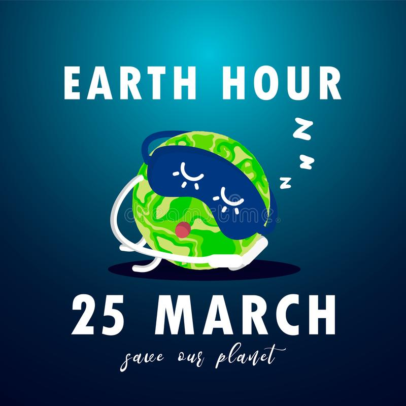 Illustration of Earth hour. Save our planet stock illustration