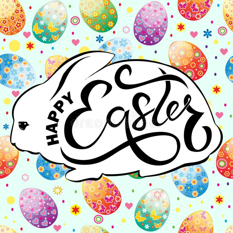 Easter card with rabbit silhouette and text royalty free illustration
