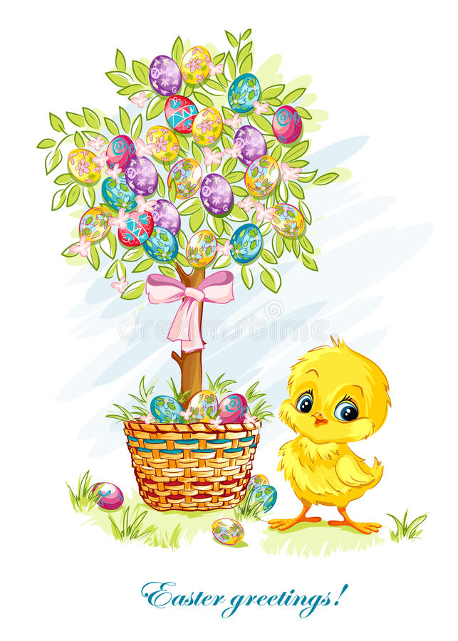 Download Illustration For Easter Day With A Young Chicken And Easter Tree Stock Vector - Image: 43260883