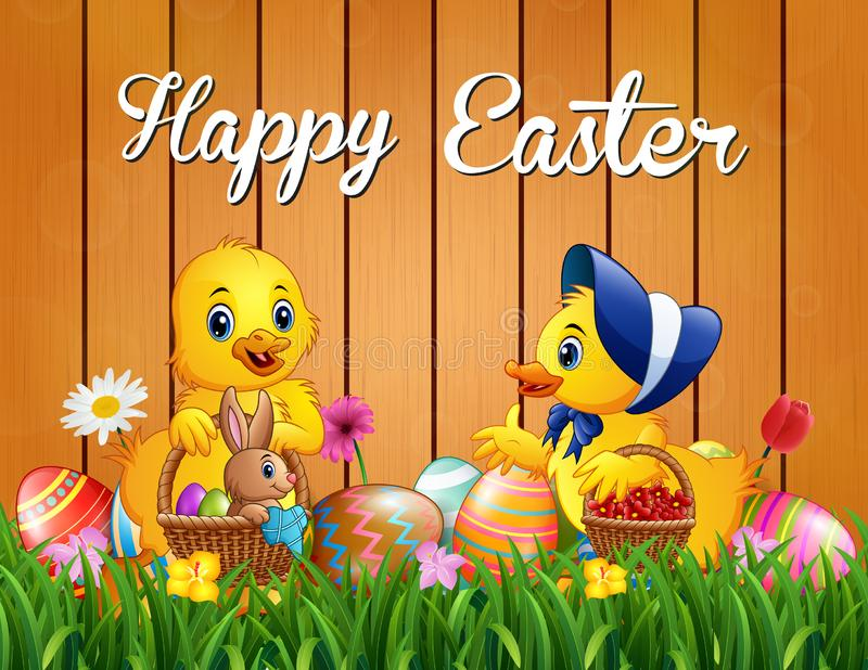 Easter greeting with baby duck and a rabbit on the basket stock illustration