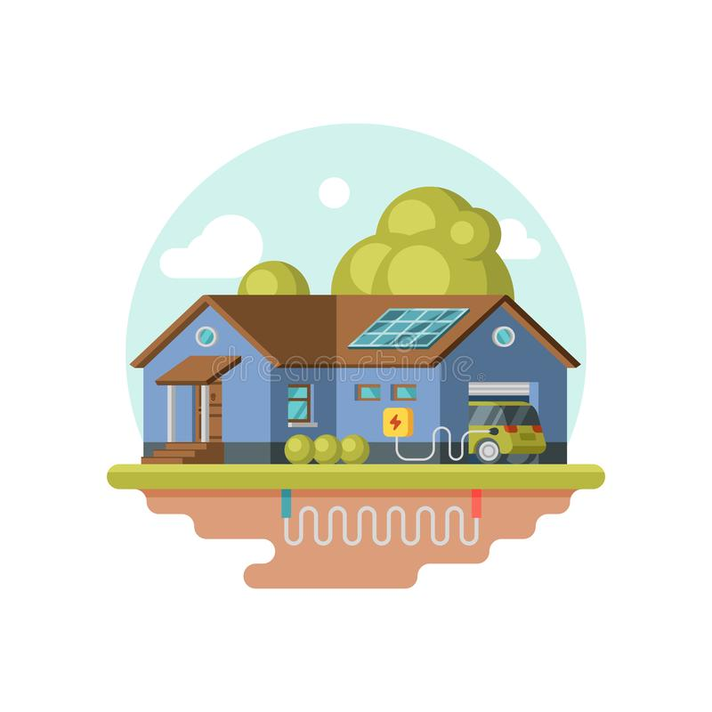 Flat vector icon of eco-friendly house, electric car in garage. Geothermal power. Clean energy sustainable home. Illustration of eco-friendly house, electric car vector illustration