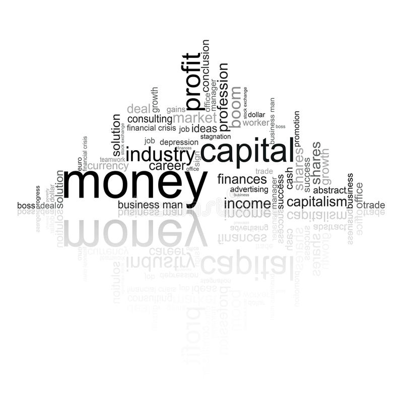 Illustration with economic terms. Illustration with different economic terms in black and white stock illustration