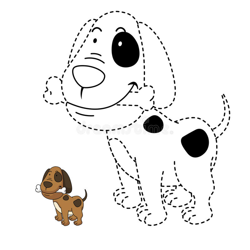 Illustration Of Educational Game For Kids And Coloring Book-dog ...