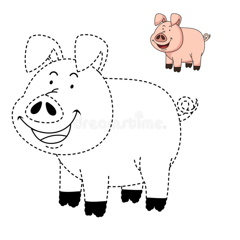 Illustration Of Educational Game For Kids And Coloring Book-pig ...