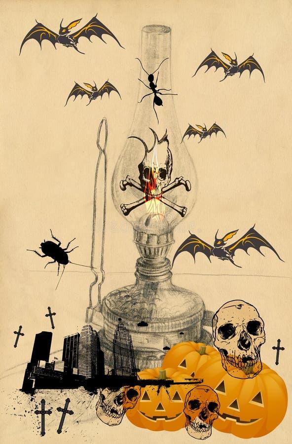 Illustration effrayante 1 de veille de la toussaint illustration de vecteur