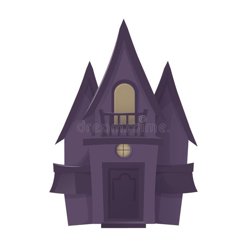 Illustration effrayante de vecteur de vacances d'horreur de fond de lune de nuit de château de Halloween illustration de vecteur