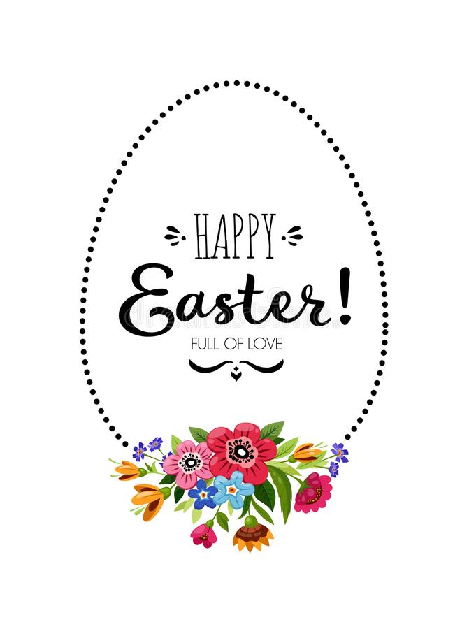 Happy Easter Illustration with egg frame, ettering royalty free illustration