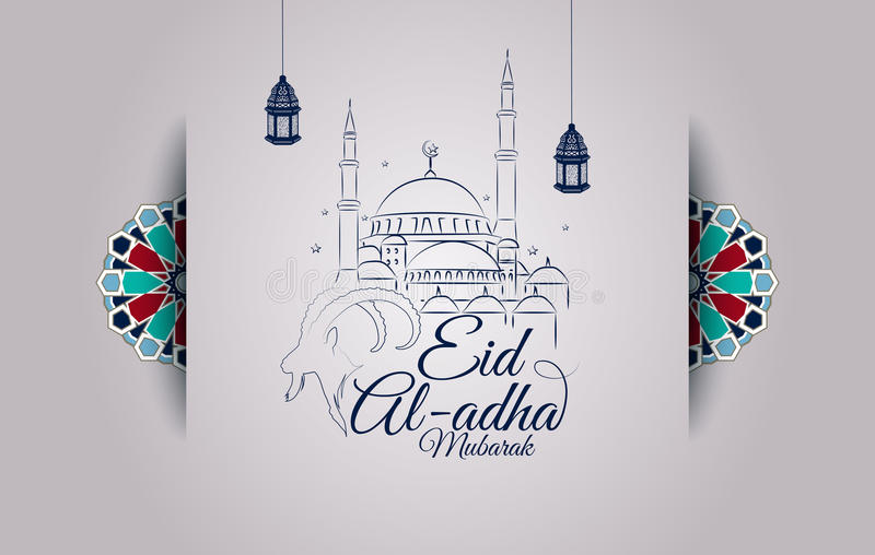 Eid al-Adha greeting card with goat head and mosque vector illustration