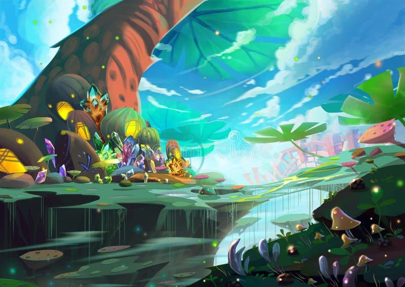 Illustration: Ein fantastisches Märchenland mit riesigem Baum, Schatz und Geheimnis-Sachen lizenzfreie abbildung